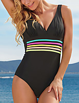 cheap -Women's New Textured Neutral Monokini Swimsuit Color Block Stripe Tummy Control Open Back Slim Normal Strap Swimwear Bathing Suits Black / One Piece / Party / Print