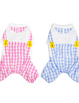 cheap -Dog Cat Jumpsuit Plaid Basic Adorable Cute Dailywear Casual / Daily Dog Clothes Puppy Clothes Dog Outfits Breathable Blue Pink Costume for Girl and Boy Dog Cotton S M L XL XXL
