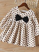 cheap -Kids Toddler Little Girls' Dress Black & White Polka Dot Bow Beige Above Knee Long Sleeve Basic Cute Dresses Children's Day Regular Fit 3-8 Years