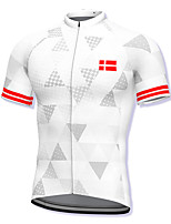 cheap -21Grams Men's Short Sleeve Cycling Jersey Spandex White Bike Top Mountain Bike MTB Road Bike Cycling Breathable Quick Dry Sports Clothing Apparel / Athleisure