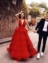 cheap -Ball Gown Elegant Sexy Prom Formal Evening Dress Sweetheart Neckline Sleeveless Court Train Tulle with Sash / Ribbon Pleats Tier 2021
