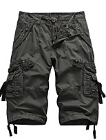 cheap -Men's Hiking Shorts Hiking Cargo Shorts Solid Color Summer Outdoor Breathable Multi-Pockets Wear Resistance Scratch Resistant Cotton Capri Pants Black Army Green Burgundy Grey Khaki Hunting Fishing