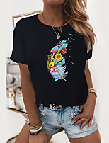 cheap -Women's T shirt Graphic Flower Print Round Neck Tops 100% Cotton Basic Basic Top White Black
