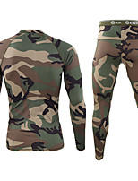 cheap -Men's Hiking Shirt with Pants Military Tactical Shirt Autumn / Fall Spring Summer Outdoor Camo Quick Dry Lightweight Breathable Soft Clothing Suit Cotton Hunting Fishing Climbing Black Camouflage