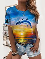 cheap -Women's T shirt Graphic Scenery 3D Print Round Neck Tops Basic Beach Basic Top Blue