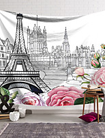cheap -Wall Tapestry Art Decor Blanket Curtain Hanging Home Bedroom Living Room Decoration Polyester Eiffel Tower Paris City Sketch