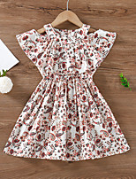 cheap -Toddler Little Girls' Dress Floral Ruched Patchwork White Knee-length Short Sleeve Active Cute Dresses Regular Fit