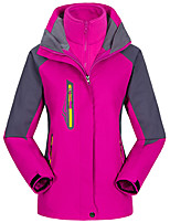 cheap -Men's Women's Hiking 3-in-1 Jackets Winter Outdoor Lightweight Windproof Breathable Quick Dry Winter Jacket Top Fishing Climbing Camping / Hiking / Caving orange Women's-Red Men's-Red Women-black