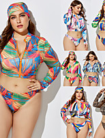 cheap -Women's Rashguard Swimsuit Elastane Swimwear Breathable Quick Dry Long Sleeve 2 Piece Front Zip - Swimming Surfing Water Sports Painting Autumn / Fall Spring Summer / Plus Size