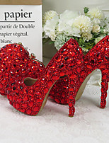 cheap -Women's Wedding Shoes Pumps Round Toe Wedding Pumps Vintage Sexy Minimalism Wedding Party & Evening PU Rhinestone Crystal Sparkling Glitter Solid Colored Red
