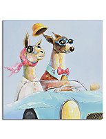 cheap -Handmade Hand Painted Square Animal Dogs Oil Painting Canvas PaintingWall Art Home Decoration Decor Stretched Frame Ready to Hang