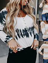 cheap -Women's Tee / T-shirt Tie Dye Crew Neck Sport Athleisure T Shirt Top Long Sleeve Breathable Soft Comfortable Everyday Use Casual Daily Outdoor