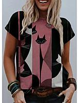 cheap -Women's T shirt Cat Graphic Print Round Neck Tops Basic Basic Top Blushing Pink