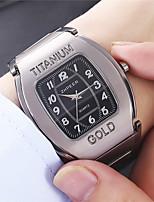 cheap -Men's Steel Band Watches Quartz Geometrical Formal Style Calendar / date / day Analog - Digital Black Gray / Titanium Alloy