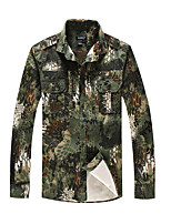 cheap -Men's Hiking Jacket Hiking Shirt / Button Down Shirts Long Sleeve Shirt Coat Top Outdoor Quick Dry Lightweight Breathable Sweat wicking Autumn / Fall Spring Summer Python jungle Python pattern police