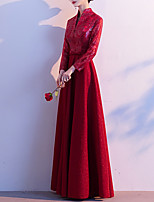 cheap -A-Line Glittering Vintage Wedding Guest Formal Evening Dress V Neck Long Sleeve Floor Length Spandex with Buttons Sequin 2021