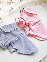 cheap -Dog Cat Shirt / T-Shirt Pajamas Solid Colored Basic Adorable Cute Dailywear Casual / Daily Dog Clothes Puppy Clothes Dog Outfits Breathable Blue Pink Costume for Girl and Boy Dog Polyester XS S M L XL
