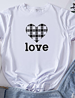 cheap -Women's T shirt Graphic Heart Letter Print Round Neck Tops 100% Cotton Basic Basic Top White Blue Red