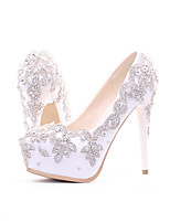cheap -Women's Wedding Shoes Platform Round Toe Vintage Sexy Roman Shoes Wedding Party & Evening PU Rhinestone Pearl Sparkling Glitter Solid Colored Color Block White