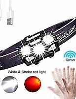 cheap -Stirnlampe led wiederaufladbar, 300 Lumen Kopfbrenner, COB-Scheinwerfer mit blinkendem rotem Licht Super Bright 5 Modi für Outdoor-Camping Wandern Radfahren