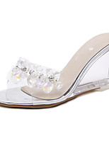cheap -Women's Sandals Wedge Heel Peep Toe Wedge Sandals Casual Daily Walking Shoes PU Solid Colored Gold Silver