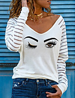 cheap -Women's T shirt Graphic Long Sleeve Print V Neck Tops Basic Basic Top White