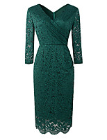 cheap -Sheath / Column Elegant Vintage Party Wear Cocktail Party Dress V Neck 3/4 Length Sleeve Knee Length Lace with Lace Insert 2021