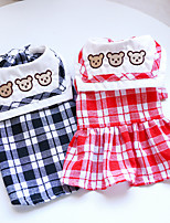 cheap -Dog Cat Dress Plaid Elegant Adorable Cute Dailywear Casual / Daily Dog Clothes Puppy Clothes Dog Outfits Breathable Black Red Costume for Girl and Boy Dog Polyester XS S M L XL