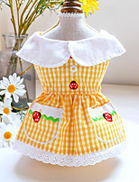 cheap -Dog Cat Dress Plaid Strawberry Elegant Adorable Cute Dailywear Casual / Daily Dog Clothes Puppy Clothes Dog Outfits Breathable Yellow Costume for Girl and Boy Dog Polyester XS S M L XL