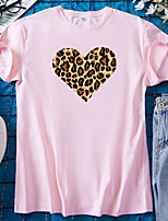 cheap -Women's T shirt Graphic Heart Leopard Print Round Neck Tops 100% Cotton Basic Basic Top White Black Blue