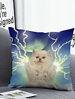 cheap -1 Pc Cushion Cover with or without Pillow Insert Double Side Print Lovely Cat Lightning 38x38cm / 45x45cm Polyester