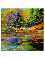 cheap -Hand Painted Canvas Oil Paintings Modern Art Abstract Landscape Stretched Squre Impression Landscape Artwork Ready to Hang