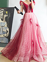 cheap -A-Line Beautiful Back Elegant Engagement Formal Evening Dress V Neck Sleeveless Court Train Tulle with Pleats Ruched Beading 2021