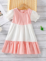 cheap -Toddler Little Girls' Dress Patchwork Patchwork Blushing Pink Midi Short Sleeve Sweet Dresses Regular Fit