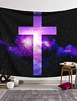 cheap -Wall Tapestry Art Decor Blanket Curtain Hanging Home Bedroom Living Room Decoration Polyester Cross Badge Purple Starry Sky