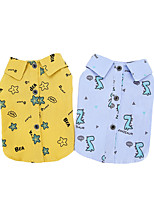 cheap -Dog Cat Shirt / T-Shirt Vest Plants Print Elegant Adorable Cute Dailywear Casual / Daily Dog Clothes Puppy Clothes Dog Outfits Breathable Yellow Blue Costume for Girl and Boy Dog Polyster S M L XL XXL