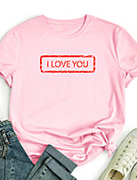 cheap -Women's T shirt Graphic Text Letter Print Round Neck Tops 100% Cotton Basic Basic Top White Black Blue