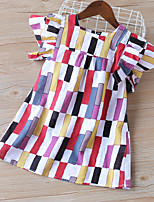 cheap -Kids Toddler Little Girls' Dress Black & Red Patchwork Ruffle Bow Rainbow Above Knee Sleeveless Basic Cute Dresses Children's Day Regular Fit 3-8 Years