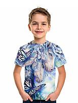 cheap -Kids Boys' T shirt Tee Short Sleeve Unicorn Graphic 3D Animal Print Children Tops Active Blue