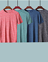 cheap -Men's T shirt Hiking Tee shirt Short Sleeve Crew Neck Tee Tshirt Top Outdoor Lightweight Breathable Quick Dry Soft Summer Polyester Solid Color Red Blue Grey Fishing Climbing Running