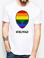 cheap -Men's Unisex T shirt Hot Stamping Rainbow Plus Size Print Short Sleeve Daily Tops 100% Cotton Basic Casual White Black Rainbow