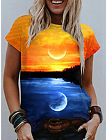 cheap -Women's T shirt Graphic Scenery Print Round Neck Tops Basic Basic Top Blue