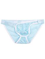 cheap -Men's 1 Piece Basic Briefs Underwear - Normal Low Waist Blue M L XL