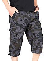 cheap -Men's Hiking Shorts Solid Color Outdoor Breathable Multi-Pockets Wear Resistance Scratch Resistant Cotton Capri Pants White Black Camouflage Grey Khaki Hunting Fishing Climbing M L XL XXL XXXL