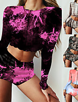 cheap -Women's Sweatsuit 2 Piece Set Tie Dye Leopard Print Crop Top Crew Neck Sport Athleisure Clothing Suit Long Sleeve Breathable Comfortable Everyday Use Casual Daily Outdoor