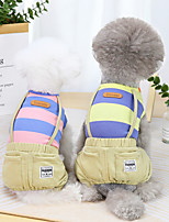 cheap -Dog Cat Jumpsuit Stripes Basic Adorable Cute Dailywear Casual / Daily Dog Clothes Puppy Clothes Dog Outfits Breathable Yellow Pink Orange Costume for Girl and Boy Dog Cotton S M L XL XXL