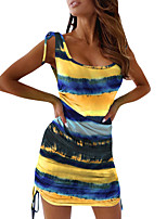 cheap -Women's Tank Dress Tie Dye Scoop Neck Color Block Sport Athleisure Dress Sleeveless Breathable Soft Comfortable Everyday Use Casual Daily Outdoor