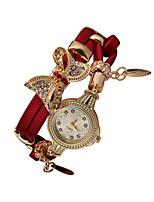 cheap -Women's Quartz Watches Quartz Glitter Bow Butterfly Diamond Analog - Digital Black Red Gold / PU Leather