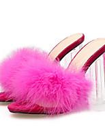 cheap -Women's Sandals Chunky Heel Open Toe Block Heel Sandals Casual Daily Walking Shoes PU Black Rose Red