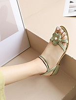 cheap -Women's Sandals Chunky Heel Open Toe Preppy Minimalism Daily Party & Evening PU Buckle Solid Colored Black Green Beige